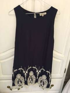 Navy dress with embroidery size M