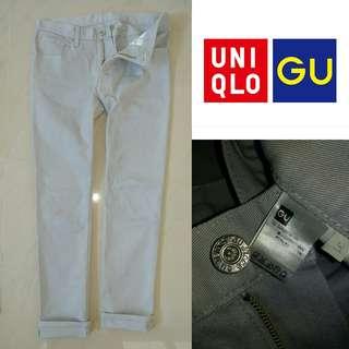 GU Slimfit Stretch Jeans By Uniqlo Grey Size 31 .
