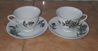 antique black rose tea cup saucer