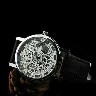 Silver Hollow Watch Black Leather