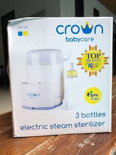 Crown babycare 3 bottles electric steam sterilizer