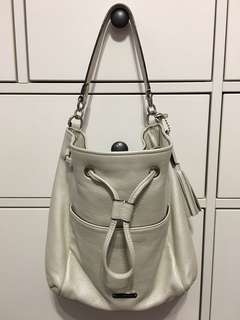 White Leather Drawstring Crossbody (Coach - Avery)