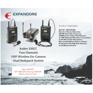 Azden 330LT Two Channels UHF Wireless Audio On-Camera Dual Body pack system