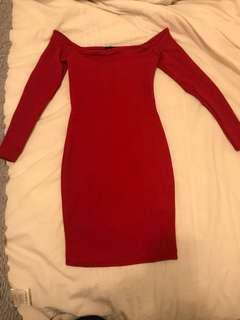 Red off the shoulder dress