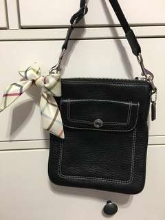 Black Pebbled Leather Crossbody Purse (Coach)