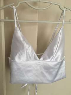 Party top bralette satin silver white cropped top