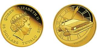 2015 Tuvalu 25 Dollars 1/4oz Gold Coin Back to the Future, box & COA