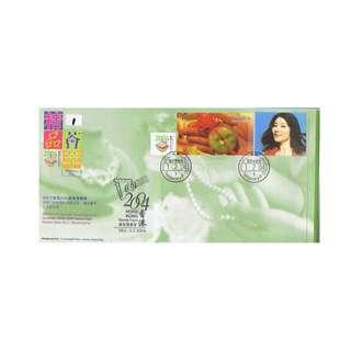 B5-2004-0201-TP11,香港首日封貼郵展5號小全張-精品薈萃,,附陳慧琳玉照-臨時1印