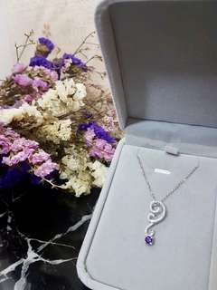 Amethyst紫晶鑽石套裝💜 1 set有齊項鍊和耳環~ 浪漫的鑽石首飾既適合平日佩戴,又襯托得起各種宴會場合。