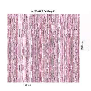 Tinsel Curtain Backdrops (Pink)