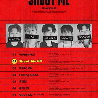 Day6 3rd Mini Album Shoot Me : Youth Part 1 (Ver A / B) + Photobook + Photocard + Pop up Card + Poster