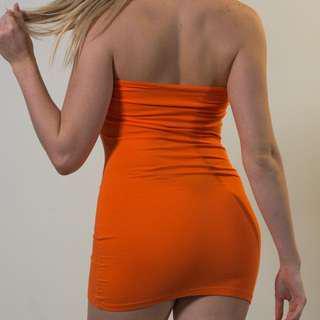 SUPRE ORANGE MINI STRAPLESS DRESS