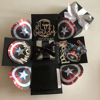 Captain America explosion box with gift box , 4 waterfall in black & silver