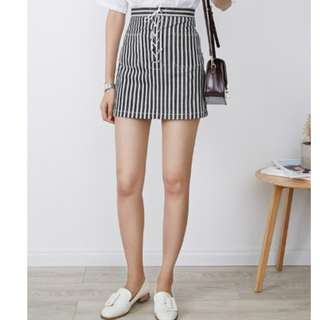 puffi黑色直細條紋編繩A字裙短裙💟腰部交叉繫帶A字短裙半身裙💟