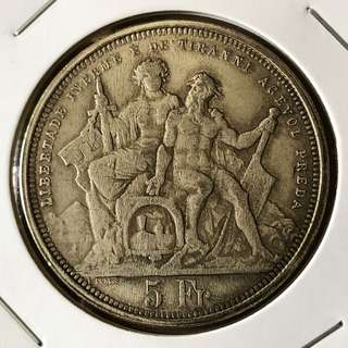 1885 Switzerland 5 Francs Silver Coin