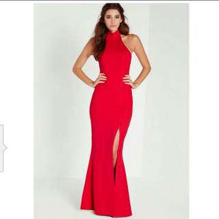 Red sexy bareback high slit evening dress rental