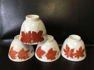 聽雨樓:#MFC-0123:【民國】粉彩紅楓葉大茶杯一套4隻