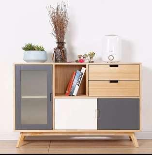 Home81 玻璃門實木1.2米多色選擇實用電視櫃 包送貨