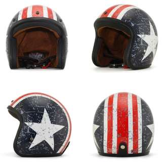 Captain America Red Blue with White Stripe and Star Motorcycle Helmet Open Face Three Button Snap Retro Vintage Vespa Scooter Cafe Racer Motorbike Leather Gloss Old School