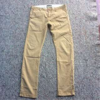 ZARA MAN CHINO LONG PANTS CREAM SLIM FIT