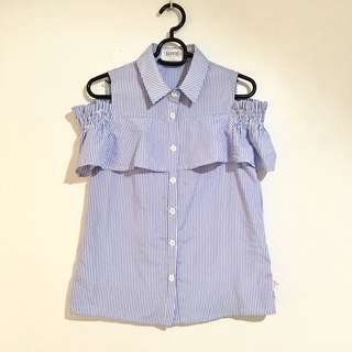 NEW Bayo Striped Blouse with Frills