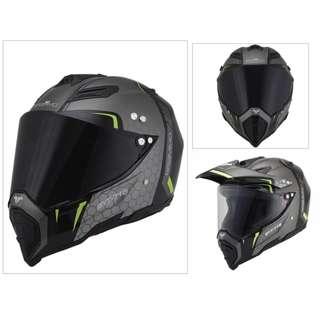 INSTOCK SIZE XL & XXL ★2 VISORS ★BRAMMO ★ Dual Full Face Motorcycle Helmet Motocross suitable for Scrambler ★ offroad dirt motocross bike ★ Ready stock ★ Black 3 in 1 ★ New arrivals
