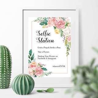 Selfie Station Wedding Signage (Pink)