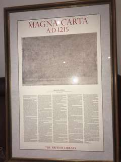 Magna Carta with glass and wooden frame