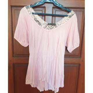 Pink Top with Lace Back