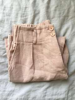[ANOTHER A] Dusty Pink Blush Cotton Linen Crop Pants Korea Korean S 2016 s/s