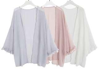 79659 #新款花邊袖雪纺開衫披肩外套  颜色: 粉色 藍色 白色    尺码: 均码