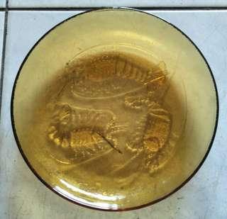 透明黃色蝦盤