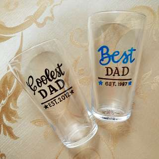 Customized Clear Glass, Hand Lettered Cup for Father, Dad, Grandpa, Uncle, Boss