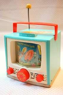 古董Fisher Price電視造型雙螢幕旋轉圖片音樂盒