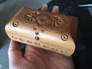Hand carved and crafted wooden jewelry box
