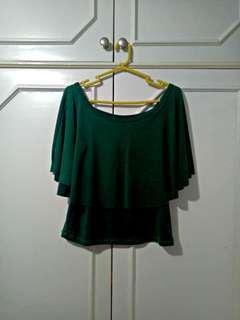 Dark Green Off Shoulder Top