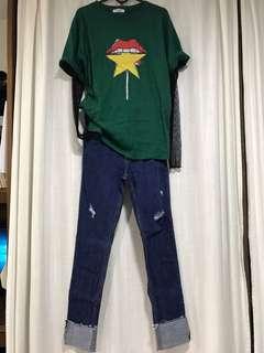 韓國彈性牛仔褲