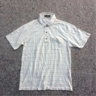 GIANNI VALENTINO LINED CREAM POLO SHIRT