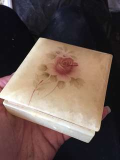 Antique Hand Carved Alabaster Jewelry Box - made in Italy