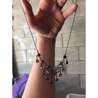 Coloured Stone Glass Gothic Necklace