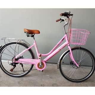 "24"" Lady Bike ☆ Vintage design ☆ Shimano 7Speeds, Disc Brakes ☆ Brand New CROLAN City Bicycle"