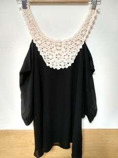 🚚 002 鏤空針織黑色雪紡長版上衣