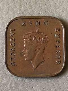 1940 Malaya 1/2 Cent Coin