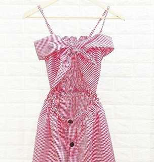 Front Tie Gingham Dress (RED)