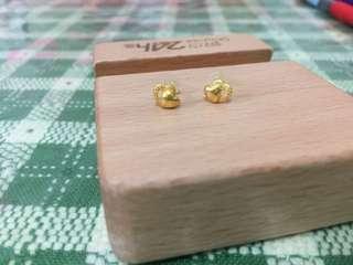 🚚 黃金雙心耳環