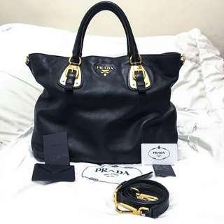 Preloved Prada BN1902 Nero Soft Calfskin Leather Shopping 2-Way Tote Bag