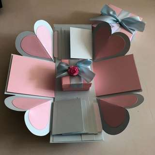 Diy explosion box with gift box.  8 waterfall in pastel pink and blue