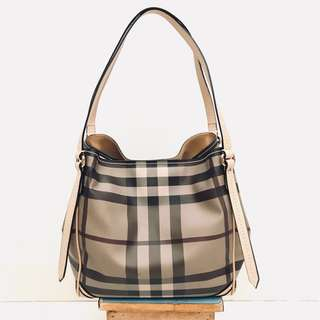 Burberry Small Smoked Check Saddlestitch Tote Bag