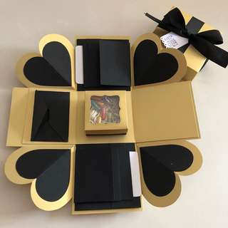Diy explosion box with capsule box , 8 waterfall and envelope in black & gold