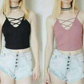 Halter Double X Crop Top✔High Quality
